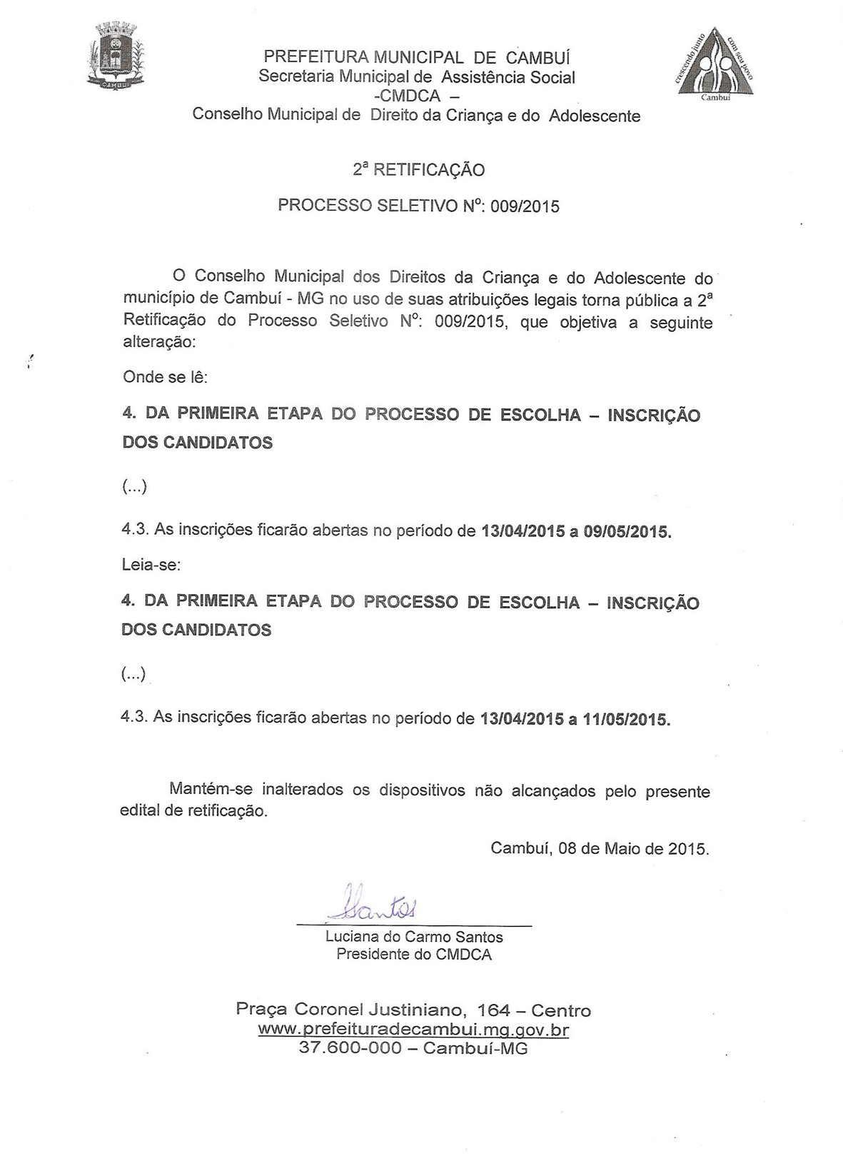 RETIFICAO EDITAL 001