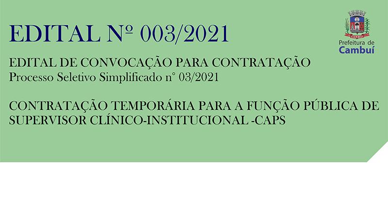 [ CLASSIFICAÇÃO ] Processo Seletivo Simplificado n° 03/2021