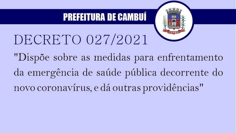 [ SAÚDE ] Decreto 027/2021