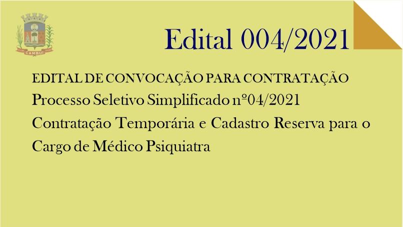[ RECUROS HUMANOS ] Classificação Edital 04/2021