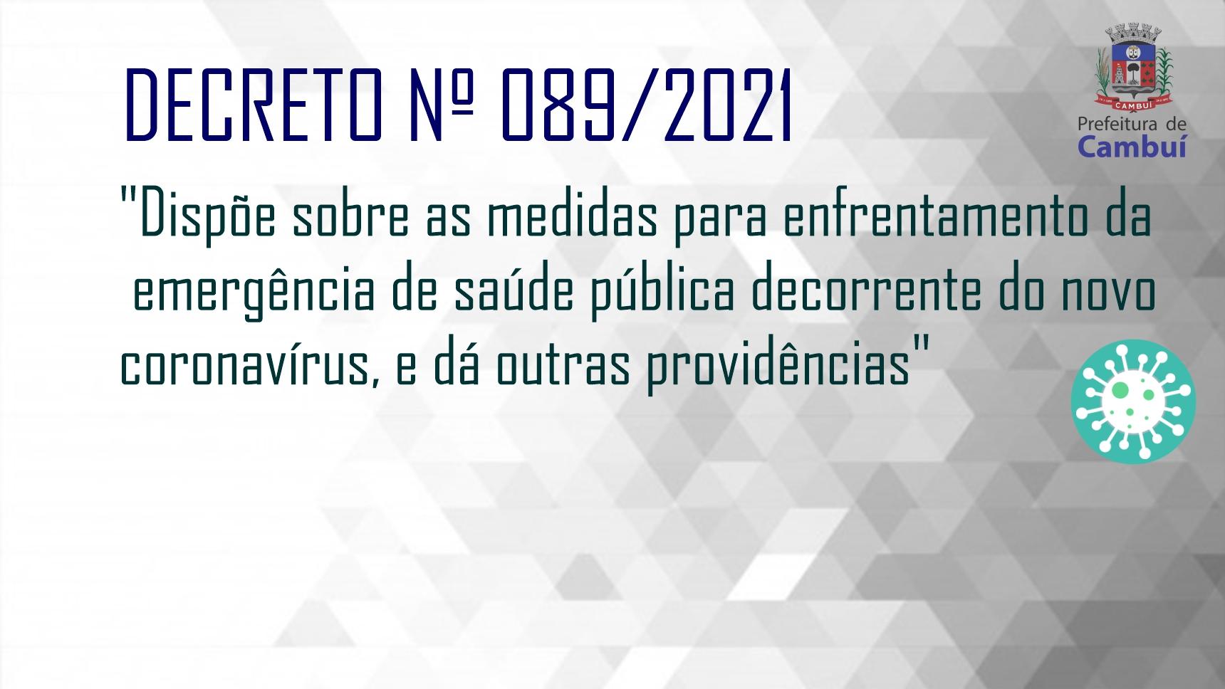SAÚDE    Decreto 089/2021