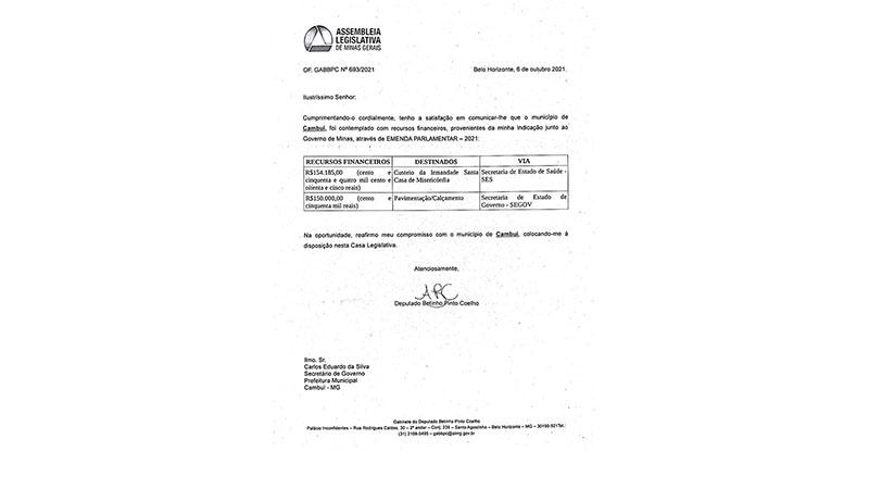    GOVERNO – MUNICÍPIO É CONTEMPLADO COM RECURSOS DE EMENDA PARLAMENTAR